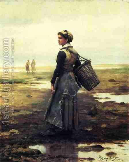 Clamming by Daniel Ridgway Knight - Reproduction Oil Painting