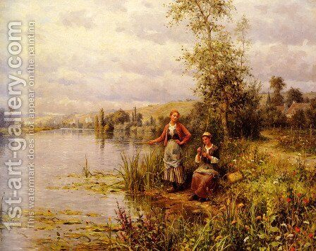 Country Women Fishing On A Summer Afternoon by Daniel Ridgway Knight - Reproduction Oil Painting