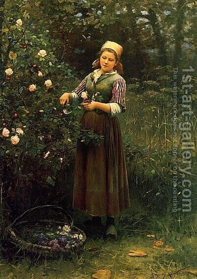 Cutting Roses by Daniel Ridgway Knight - Reproduction Oil Painting