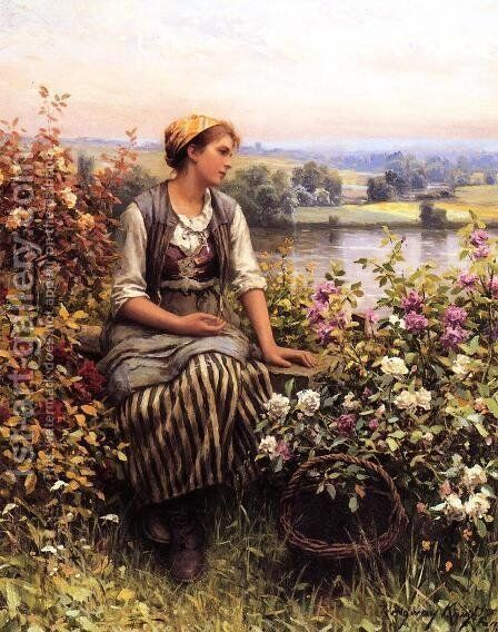 Daydreaming by Daniel Ridgway Knight - Reproduction Oil Painting