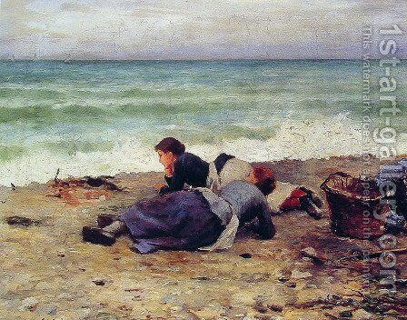Etretat Sur Mer by Daniel Ridgway Knight - Reproduction Oil Painting