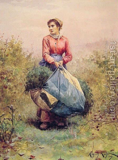 Gathering Leaves by Daniel Ridgway Knight - Reproduction Oil Painting