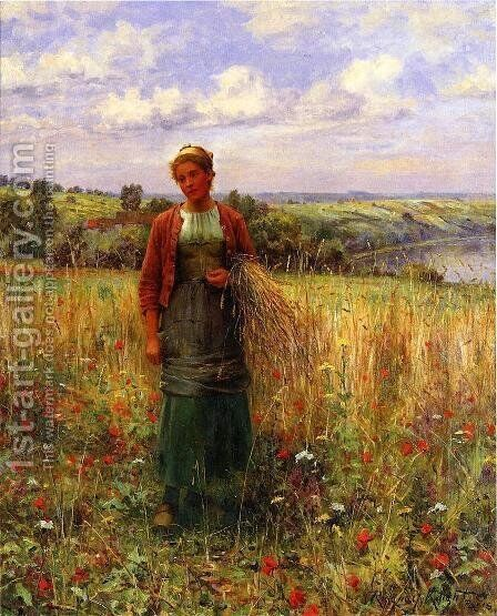 Gathering Wheat by Daniel Ridgway Knight - Reproduction Oil Painting