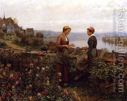 Gossiping by Daniel Ridgway Knight - Reproduction Oil Painting