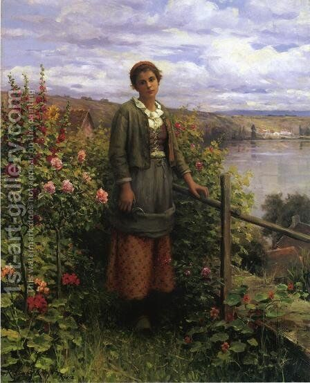 In Her Garden by Daniel Ridgway Knight - Reproduction Oil Painting