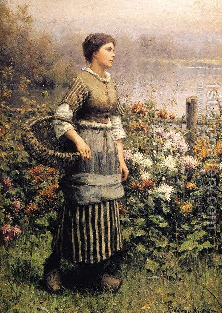 Maid Among The Flowers by Daniel Ridgway Knight - Reproduction Oil Painting