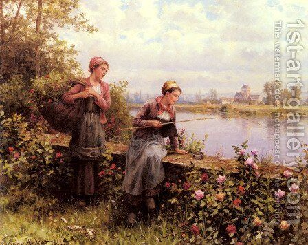 Maria And Madeleine Fishing by Daniel Ridgway Knight - Reproduction Oil Painting