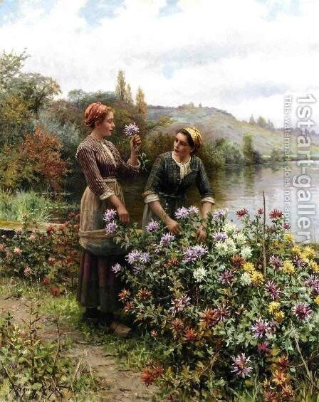 Peasant Girls In Flower Garden by Daniel Ridgway Knight - Reproduction Oil Painting