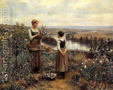 Picking Flowers by Daniel Ridgway Knight - Reproduction Oil Painting