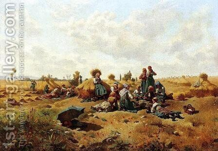 Resting Harvesters by Daniel Ridgway Knight - Reproduction Oil Painting