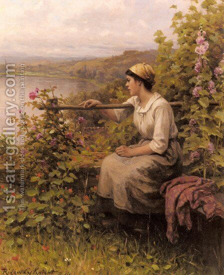 Resting In The Garden by Daniel Ridgway Knight - Reproduction Oil Painting