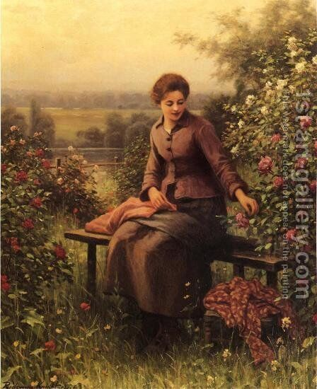 Seated Girl With Flowers by Daniel Ridgway Knight - Reproduction Oil Painting