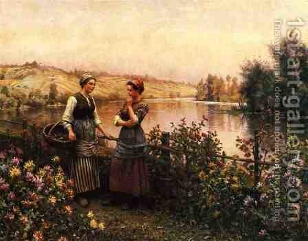 Stopping For Conversation by Daniel Ridgway Knight - Reproduction Oil Painting