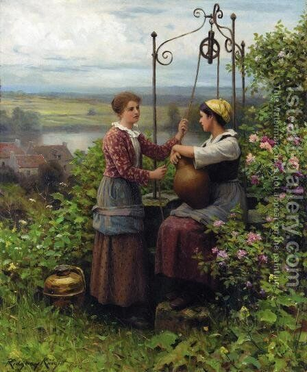 The Conversation by Daniel Ridgway Knight - Reproduction Oil Painting