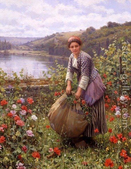 The Grass Cutter by Daniel Ridgway Knight - Reproduction Oil Painting