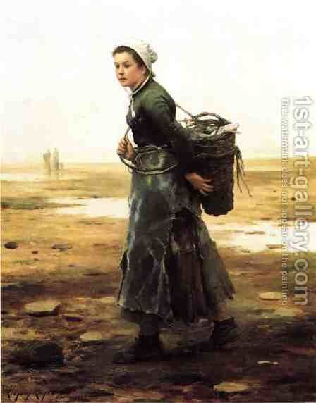 The Oyster Gatherer by Daniel Ridgway Knight - Reproduction Oil Painting