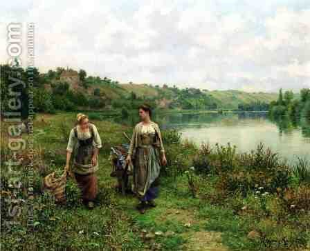 The Seine At Vernon by Daniel Ridgway Knight - Reproduction Oil Painting