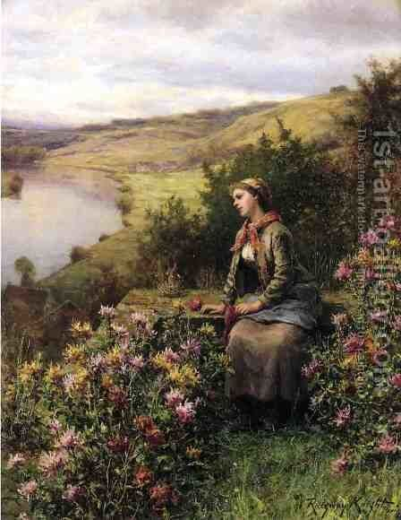 Waiting by Daniel Ridgway Knight - Reproduction Oil Painting
