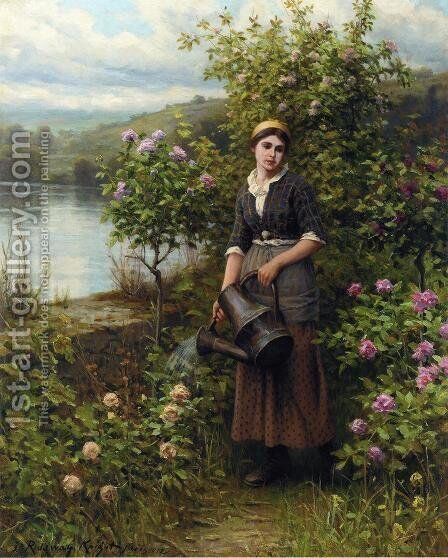 Watering The Garden by Daniel Ridgway Knight - Reproduction Oil Painting