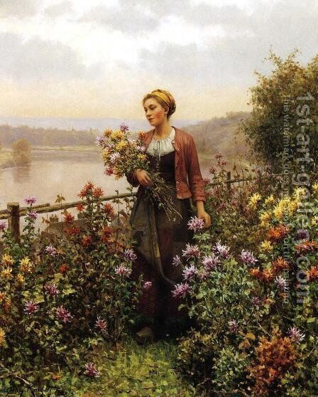 Woman In A Garden by Daniel Ridgway Knight - Reproduction Oil Painting
