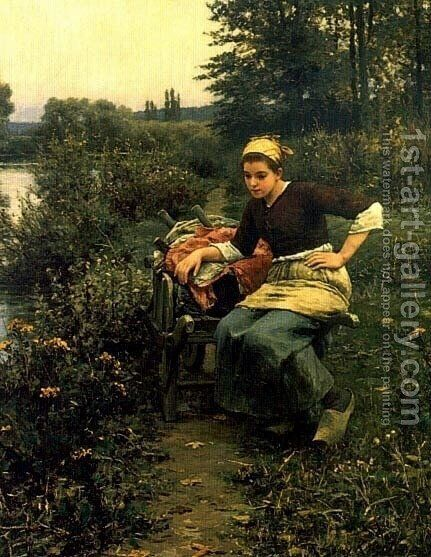 Woman In Landscape by Daniel Ridgway Knight - Reproduction Oil Painting
