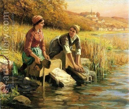 Women Washing Clothes By A Stream by Daniel Ridgway Knight - Reproduction Oil Painting