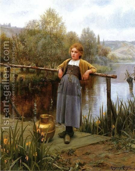 Young Girl By A Stream by Daniel Ridgway Knight - Reproduction Oil Painting