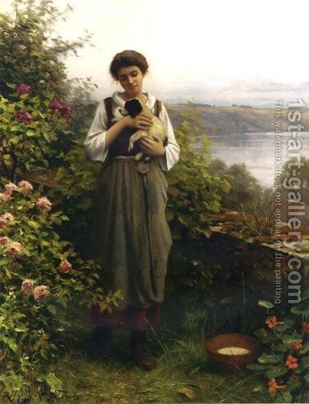 Young Girl Holding A Puppy by Daniel Ridgway Knight - Reproduction Oil Painting