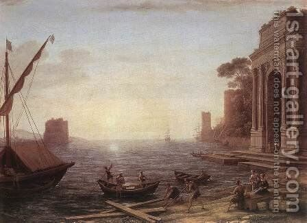 A Seaport at Sunrise 1674 by Claude Lorrain (Gellee) - Reproduction Oil Painting