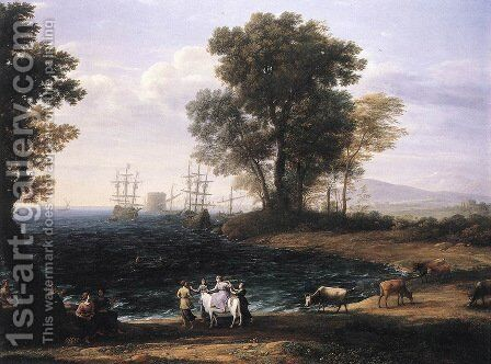 Coast Scene with the Rape of Europa 1667 by Claude Lorrain (Gellee) - Reproduction Oil Painting
