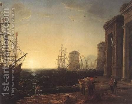 Harbour Scene at Sunset 1643 by Claude Lorrain (Gellee) - Reproduction Oil Painting