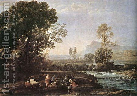 Landscape with Rest in Flight to Egypt 1647 by Claude Lorrain (Gellee) - Reproduction Oil Painting