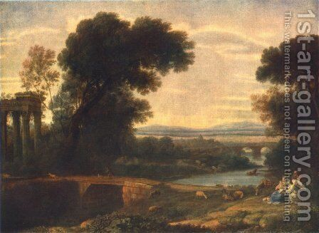 Landscape with the Rest on the Flight into Egypt 1666 by Claude Lorrain (Gellee) - Reproduction Oil Painting