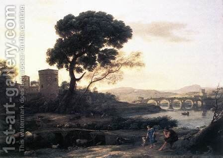 Landscape with Shepherds - The Pont Molle 1645 by Claude Lorrain (Gellee) - Reproduction Oil Painting