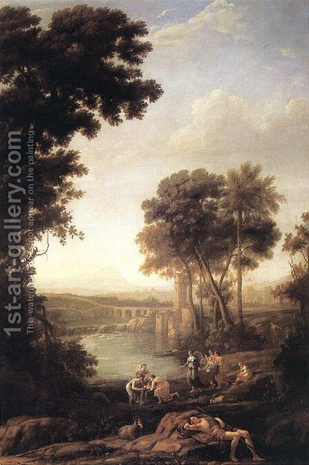Landscape with the Finding of Moses 1637-39 by Claude Lorrain (Gellee) - Reproduction Oil Painting