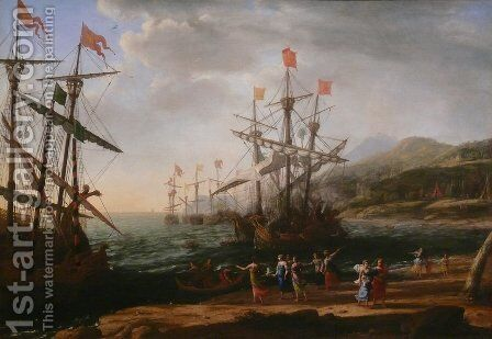 Marine with the Trojans Burning their Boats 1643 by Claude Lorrain (Gellee) - Reproduction Oil Painting