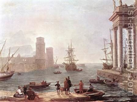 Port Scene with the Departure of Ulysses from the Land of the Feaci 1646 by Claude Lorrain (Gellee) - Reproduction Oil Painting