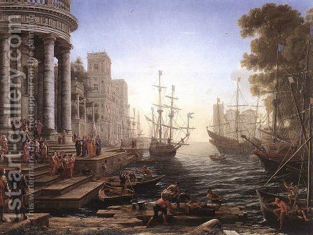 Port Scene with the Embarkation of St Ursula 1641 by Claude Lorrain (Gellee) - Reproduction Oil Painting