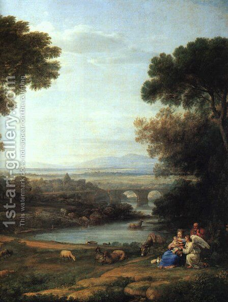 The Rest On The Flight Into Egypt   Detail by Claude Lorrain (Gellee) - Reproduction Oil Painting
