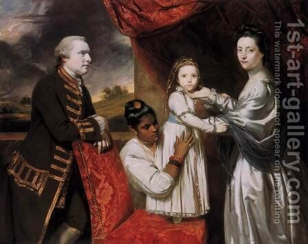 George Clive and his Family with an Indian Maid 1765 by Sir Joshua Reynolds - Reproduction Oil Painting
