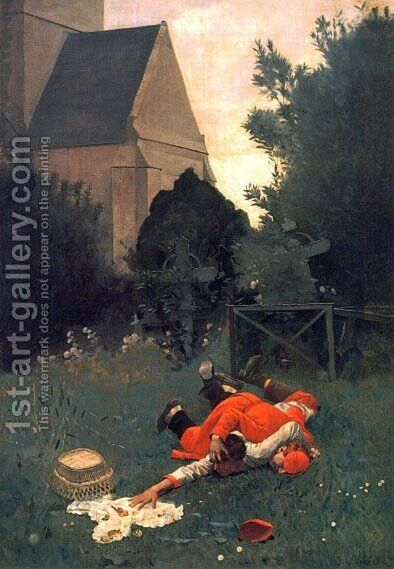 Scramble For The Lunch by Jehan Georges Vibert - Reproduction Oil Painting