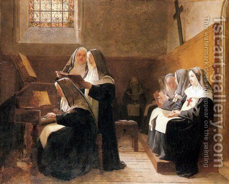 The Convent Choir by Jehan Georges Vibert - Reproduction Oil Painting