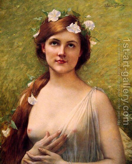 Young Woman With Morning Glories In Her Hair by Jules Joseph Lefebvre - Reproduction Oil Painting
