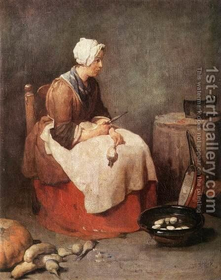 Girl Peeling Vegetables by Jean-Baptiste-Simeon Chardin - Reproduction Oil Painting