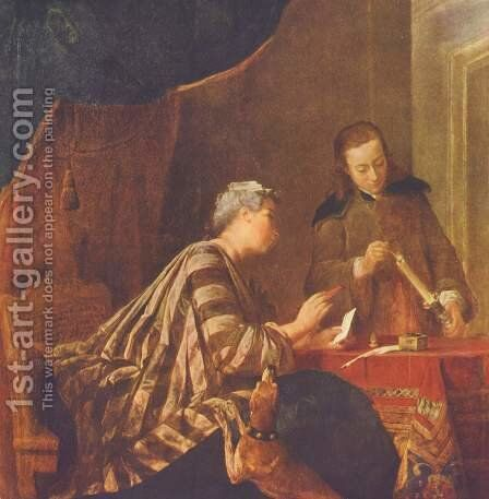 Lady Sealing A Letter by Jean-Baptiste-Simeon Chardin - Reproduction Oil Painting