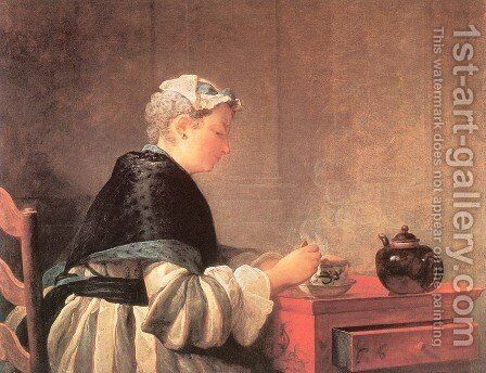 Lady Taking Tea by Jean-Baptiste-Simeon Chardin - Reproduction Oil Painting