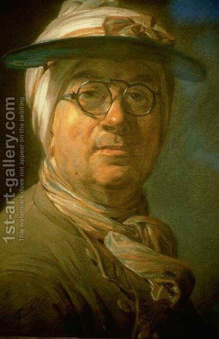 Self-Portrait with Eyeshade 1775 by Jean-Baptiste-Simeon Chardin - Reproduction Oil Painting