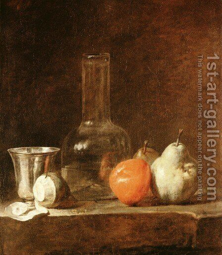 Still Life With Carafe  Silver Goblet And Fruit by Jean-Baptiste-Simeon Chardin - Reproduction Oil Painting