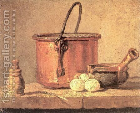 Still Life With Copper Cauldron And Eggs by Jean-Baptiste-Simeon Chardin - Reproduction Oil Painting