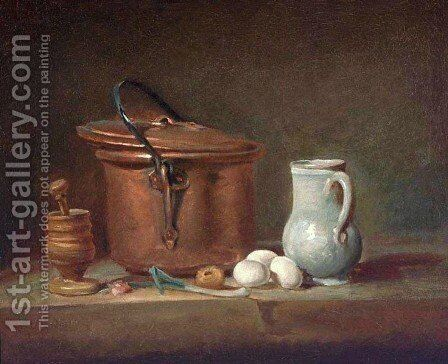 Still Life With Copper Pan And Pestle And Mortar by Jean-Baptiste-Simeon Chardin - Reproduction Oil Painting